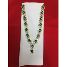 Green Stone Necklace with Pearls