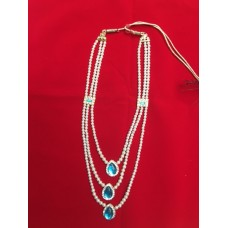 Turquoise triple drop pearl necklace