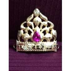 Gold plated Mukut with maroon drop stone (small)