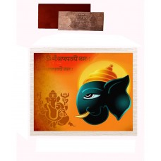 Mesleep Frameless Yellow And Blue Cotton Ganesha Canvas Painting With Rs 1000 Silver Plated Replica Note