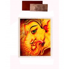 Mesleep Frameless Yellow Cotton Ganesha Canvas Painting With Rs 1000 Silver Plated Replica Note
